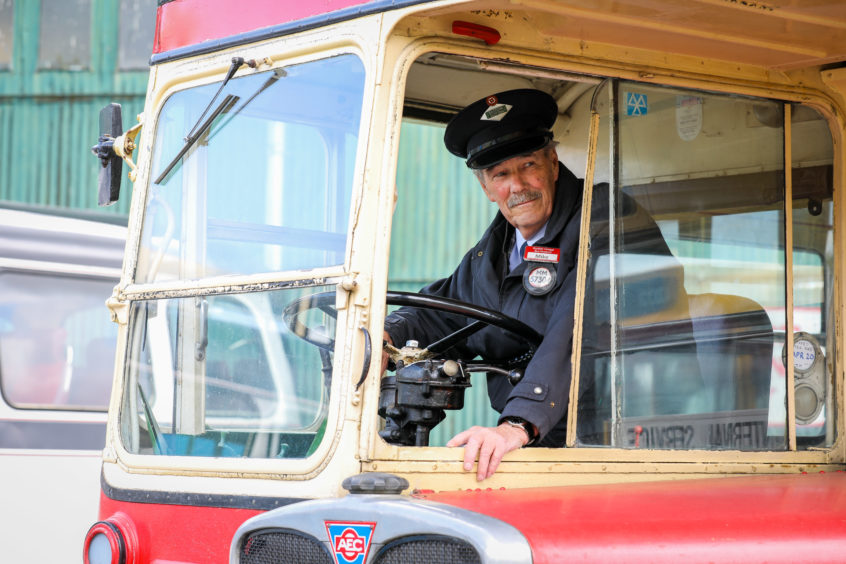 Mike Dickson, retired bus driver with the AEC RT Knotty Ash.