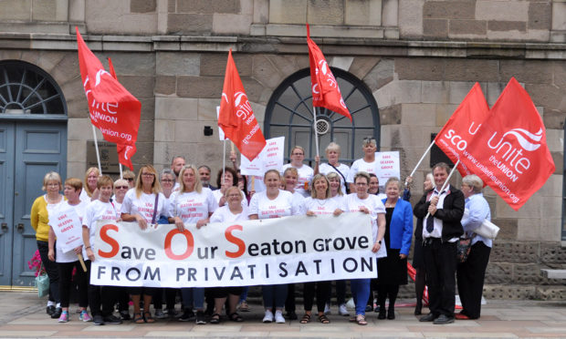 Caption (description) -CR0013488, Campaigners will stage a protest outside Town and County Hall in Forfar as the Integration Joint Board considers the future of Seaton Grove care home in Arbroath, Picture shows,Seaton Grove care home protestors, 28 August 2019