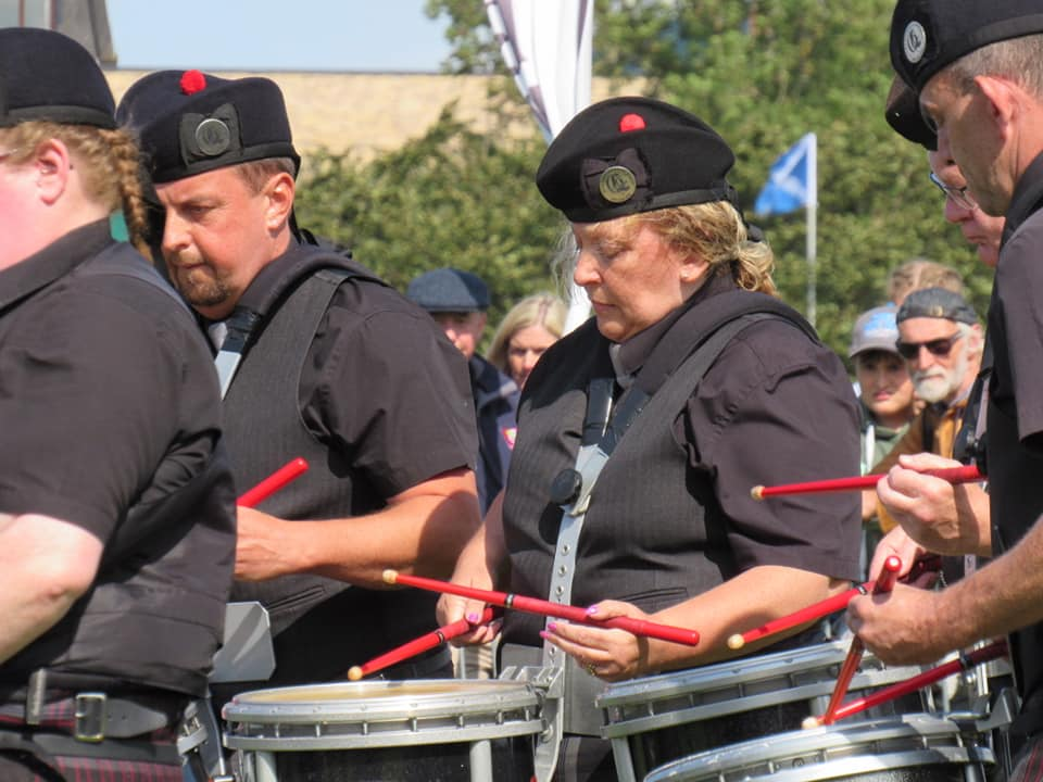 Shona Brown drumming for Glenrothes and District Pipe Band at the world championships.