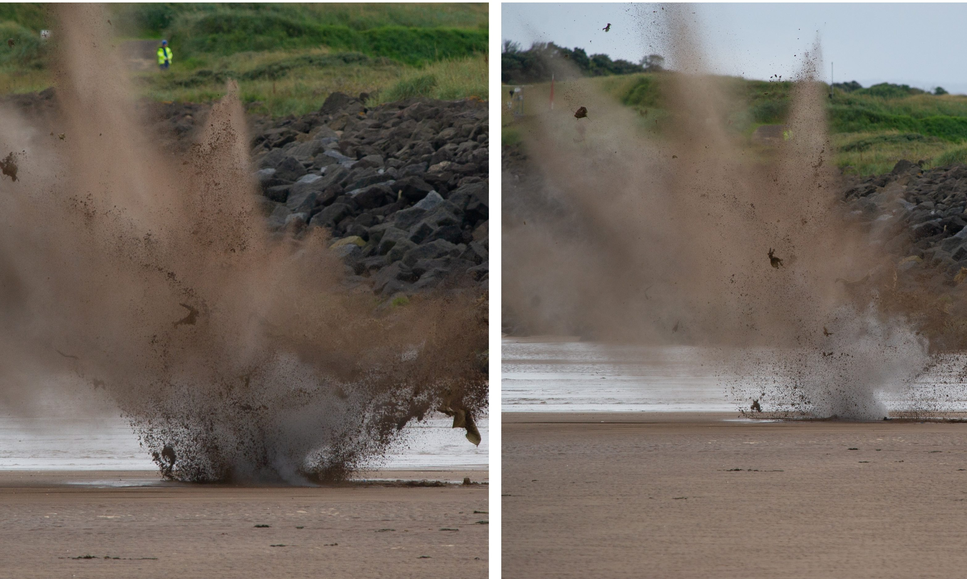 The controlled explosion on Carnousite beach. Photos and video by Courier photographer Kim Cessford.