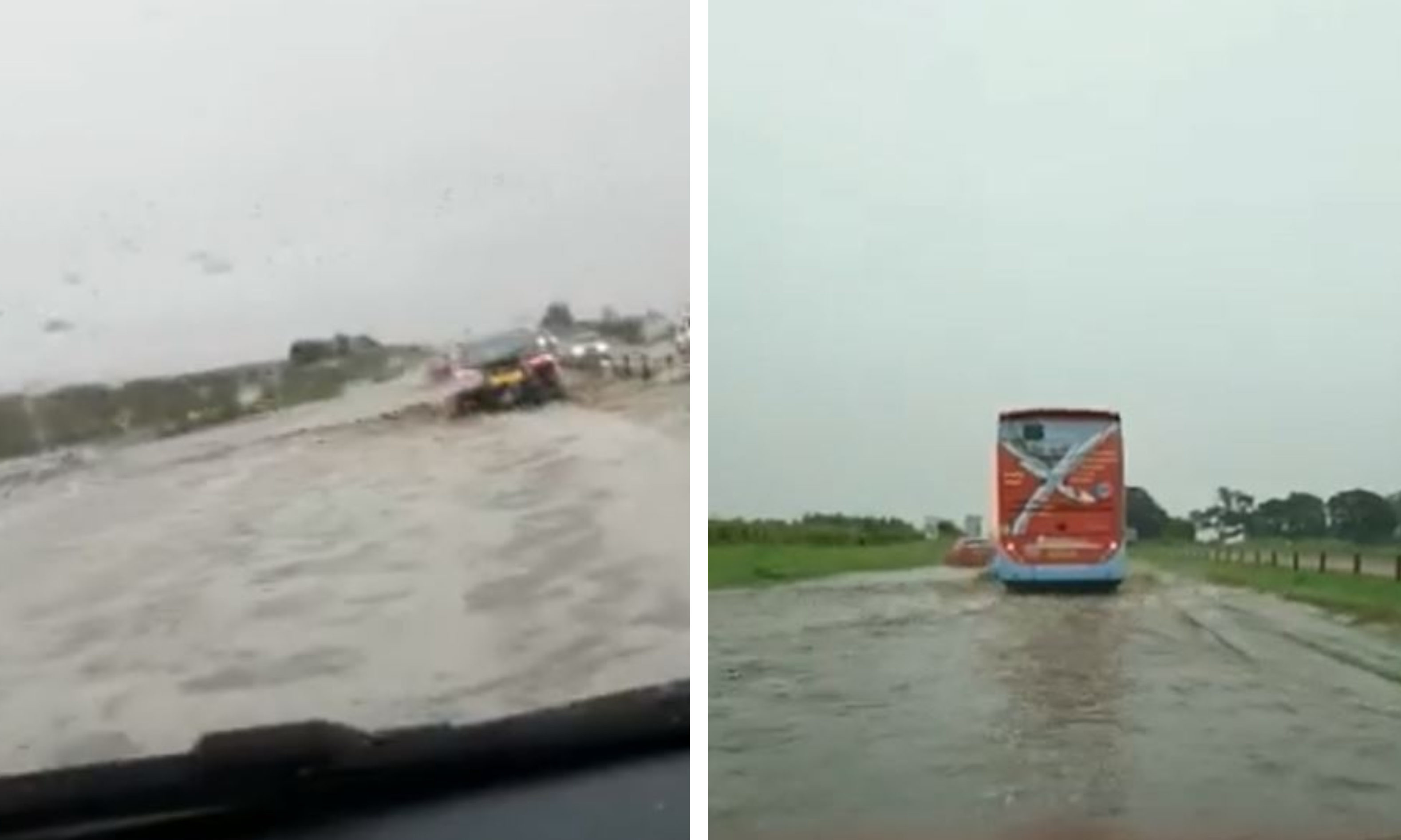 Flooding near Muirdrum on the A92 Dundee to Arbroath. Captured by Kim MacDonald and Mag Guignard-Duff.