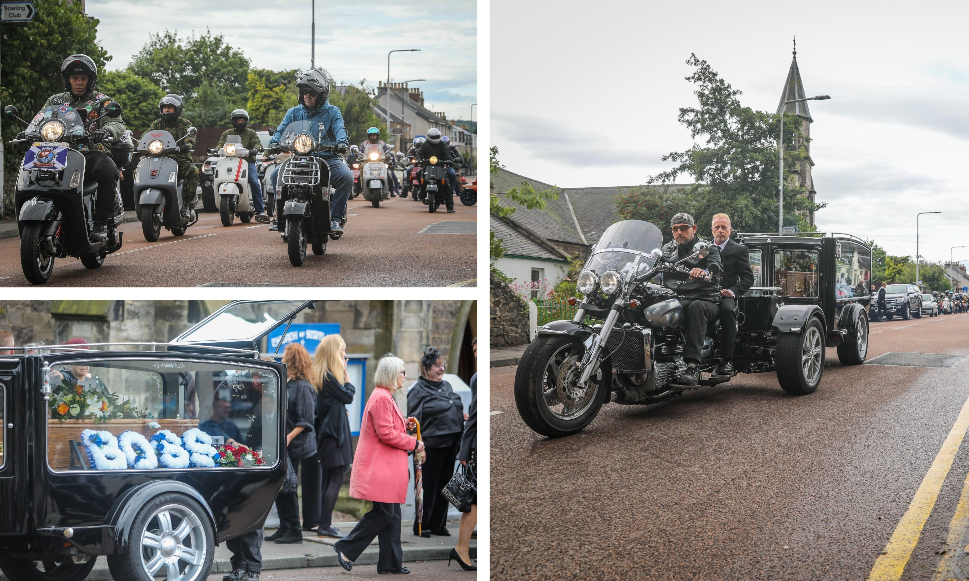 Andrew Hart's funeral service was attend by a large group of bikers.