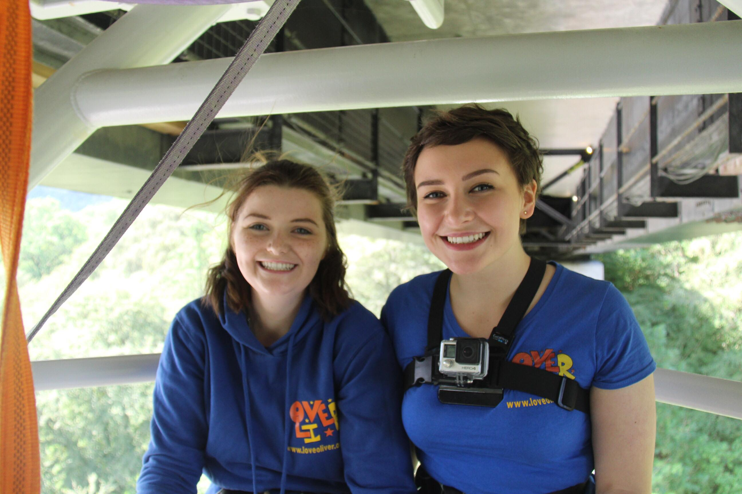 Jade Dowie (left) and best friend Jasmine Doyle did a bungee jump to celebrate Jade being cancer-free for two years.