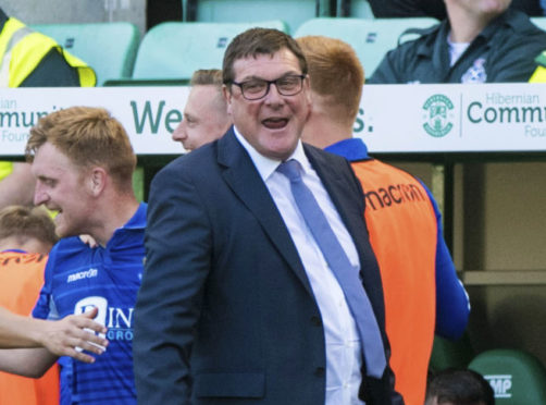 Tommy Wright was a happy man in Easter Road injury time.