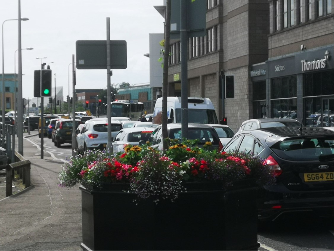 Traffic in Dundee city centre on Saturday.