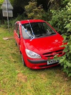 Martin's car has been written off after he had to swerve to dodge a driver on the wrong side of the A9.