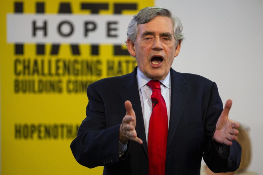 "Former Prime Minister Gordon Brown speaks at a ""No to No-Deal"" rally at Gorbals Parish Church on September 9, 2019 in Glasgow."