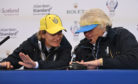 Solheim Cup captain Catriona Matthew and assistant Dame Laura Davies compare nail art at Gleneagles.