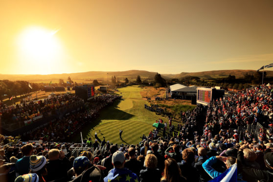 Sunrise over the first tee on the first day at the Solheim Cup at Gleneagles.