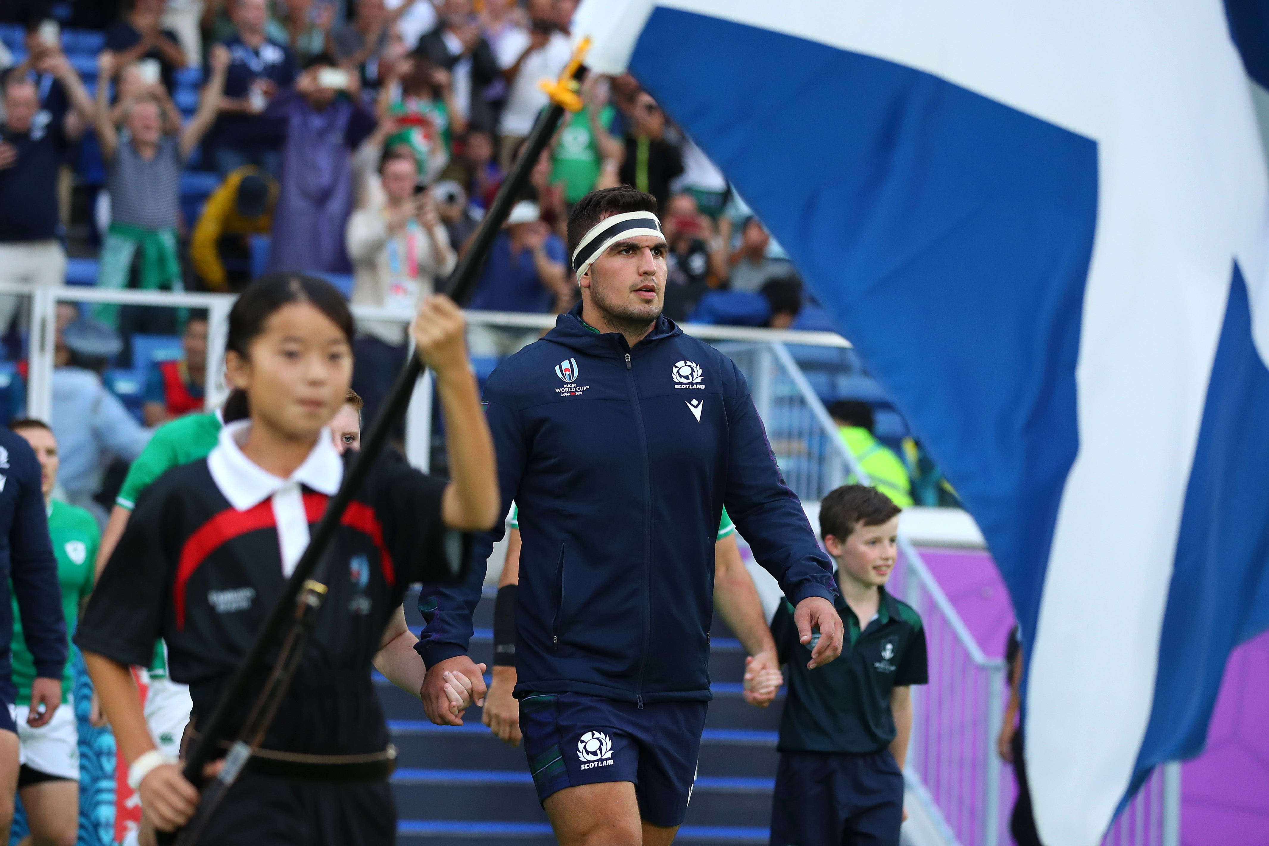 Stuart McInally leads Scotland into the Rugby World Cup opener.