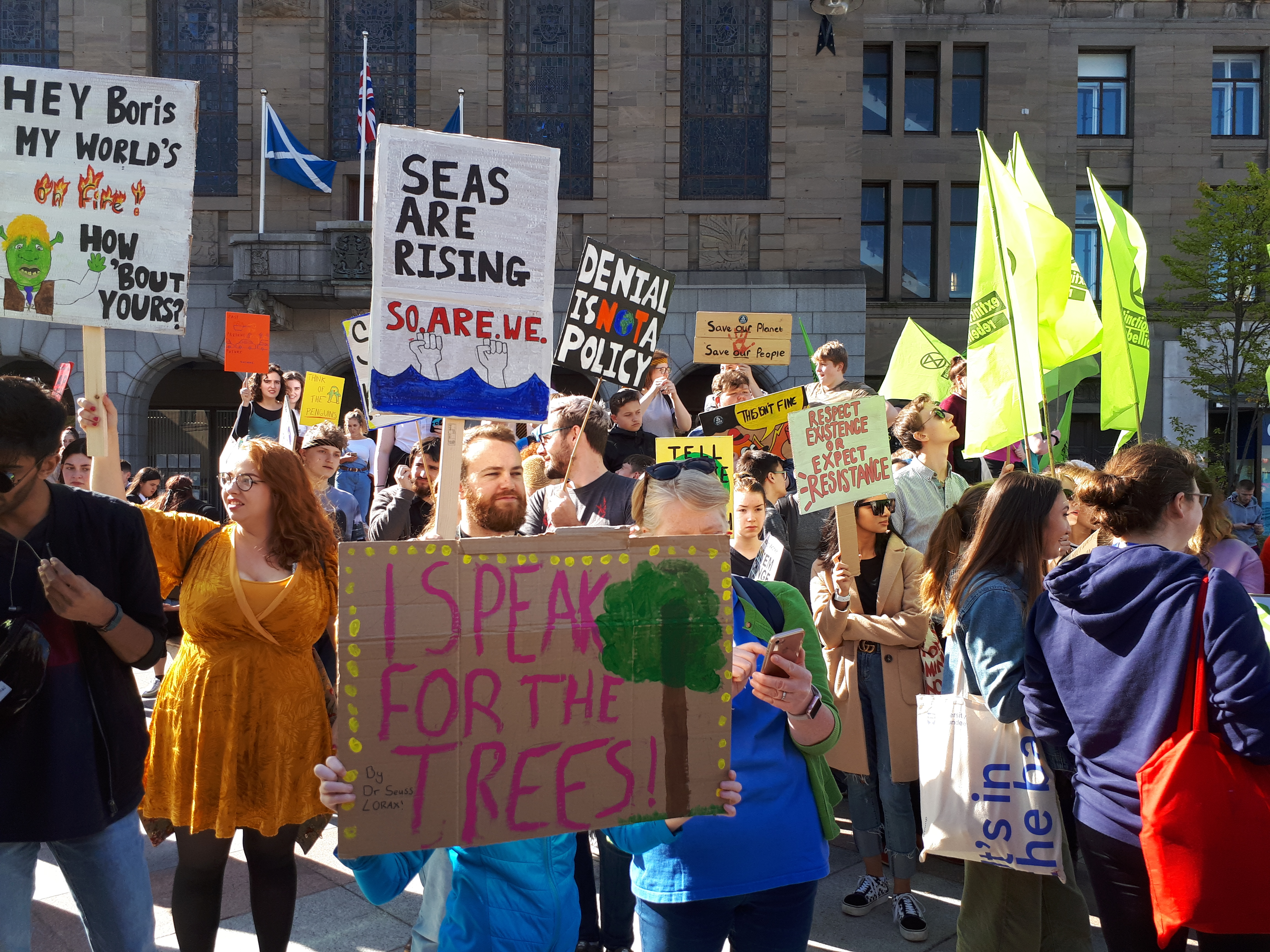 Climate change protesters in Dundee City Square.