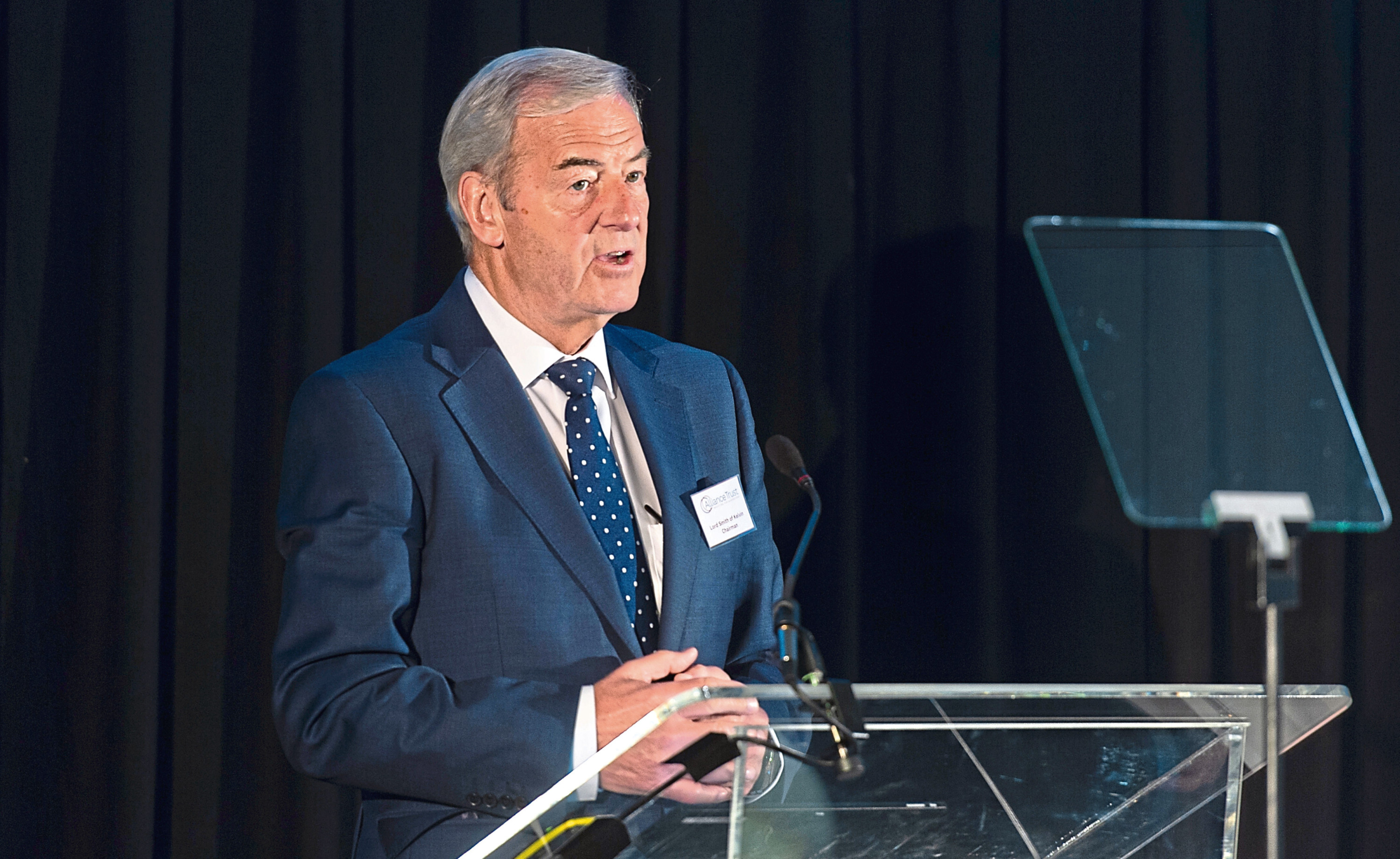 Courier News - Business - Jim Millar story; CR0008580 Alliance Trust AGM pics. Picture Shows; Lord Smith of Kelvin addresses the AGM, Apex City Quay Hotel, West Victoria Dock Road, Dundee, 25th April 2019. Pic by Kim Cessford / DCT Media