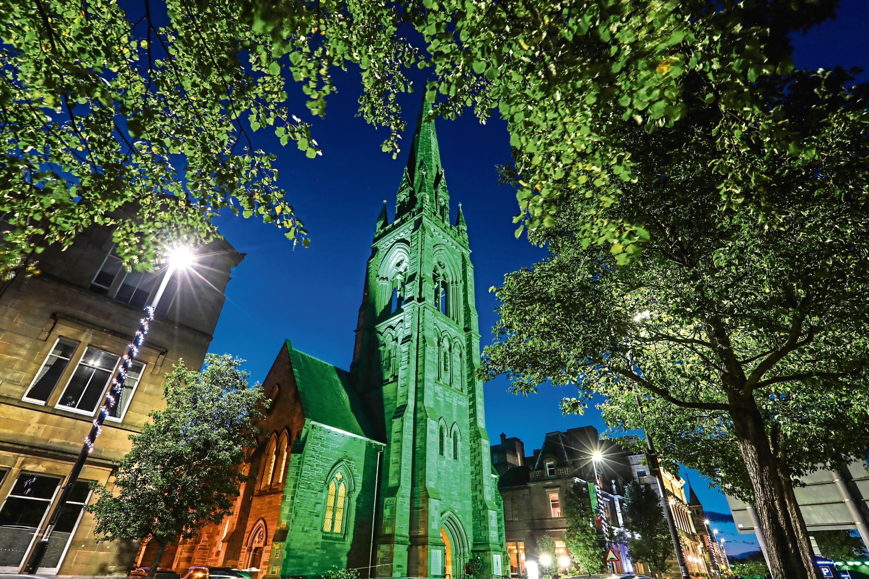 Lit-up St Matthews Church in Tay Street, Perth.