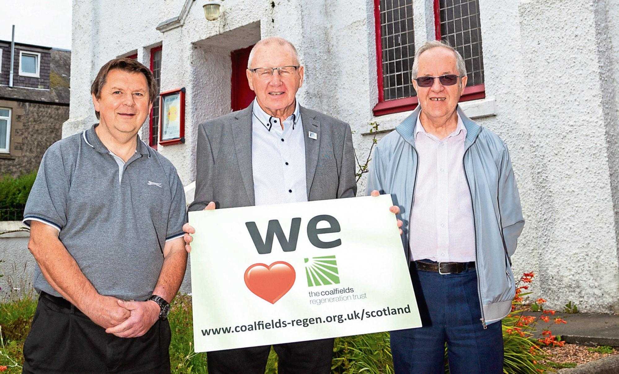 Image shows (left to right):  Robert Scott (Buckhaven Baptist Church), Bob Young (CRT Scotland trustee), David Dowie,  (Buckhaven Baptist Church).