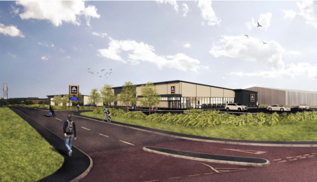 An artist's impression of the new Aldi site in Dundee.