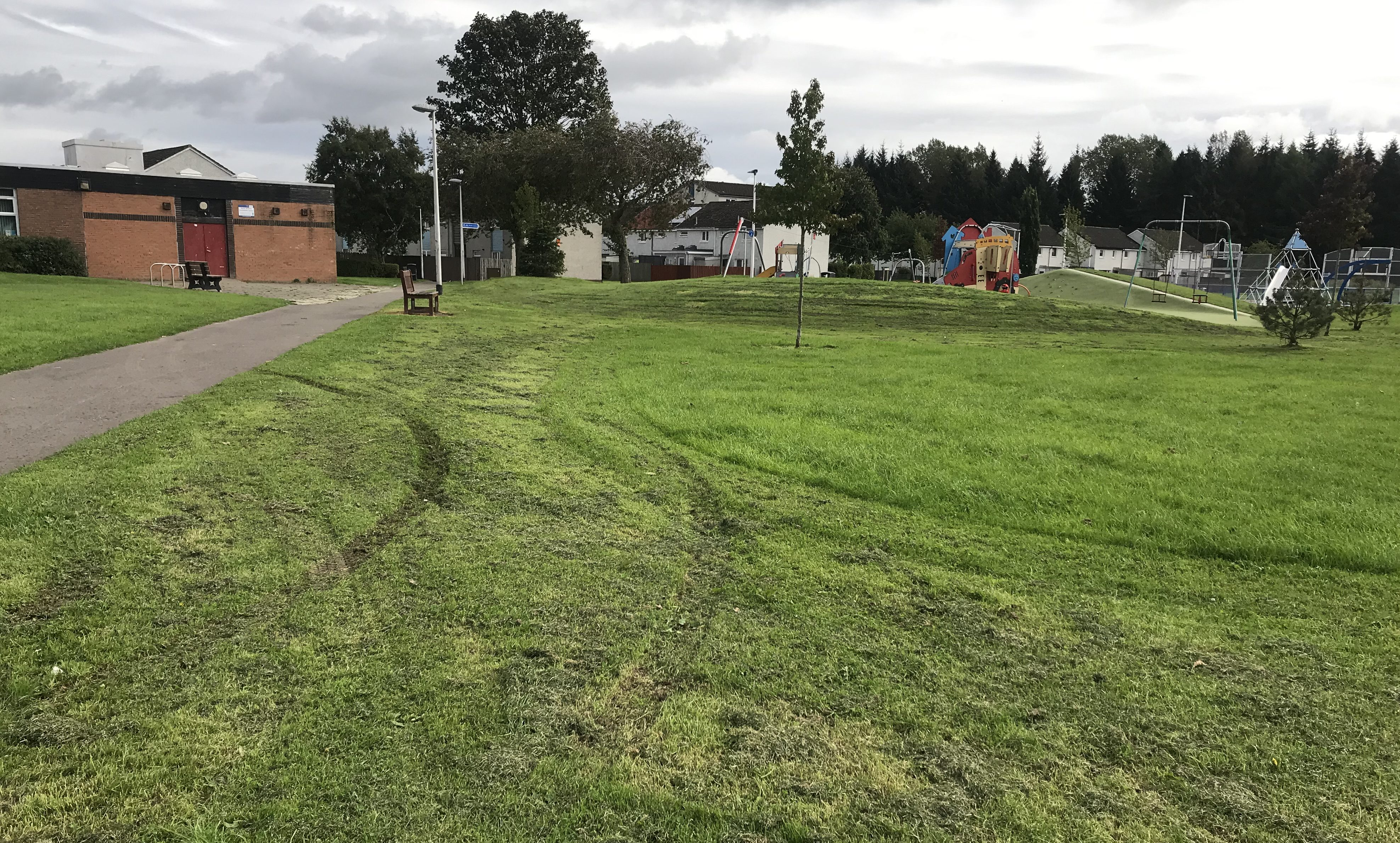 Tyre tracks left following an incident near a swing park, off Argyll Road