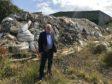 Douglas Chapman beside the rubbish at Lathalmond.