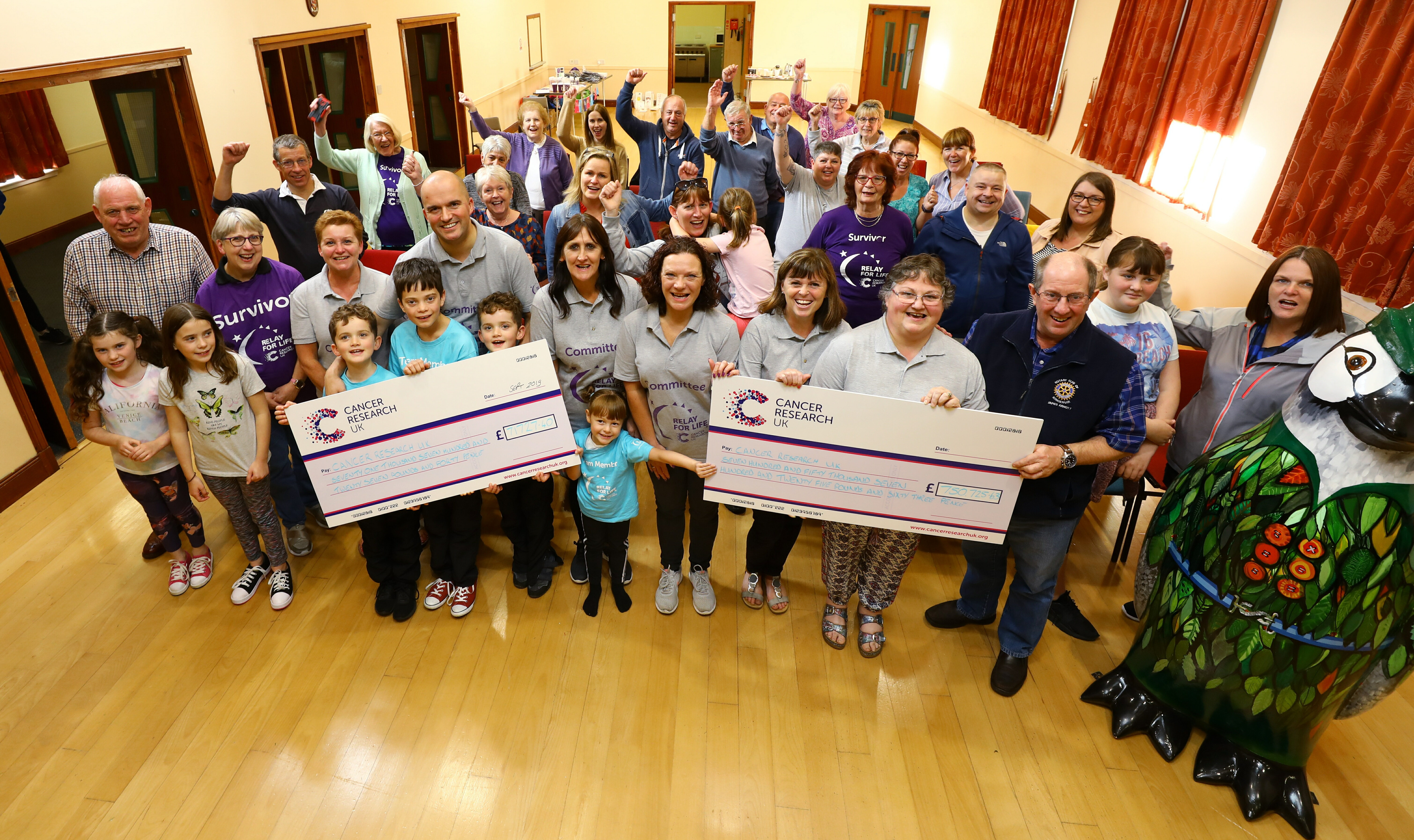 Members of the Kirriemuir CRUK Committee and supporters display the two cheques, one for the amount raised at this years event - £71,727.40, and also the amount raised from the seven Relay For Life events that they have held, totalling £750,725.63.