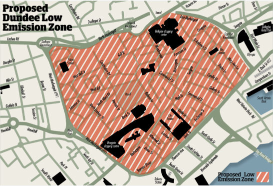 The proposed LEZ in Dundee city centre.