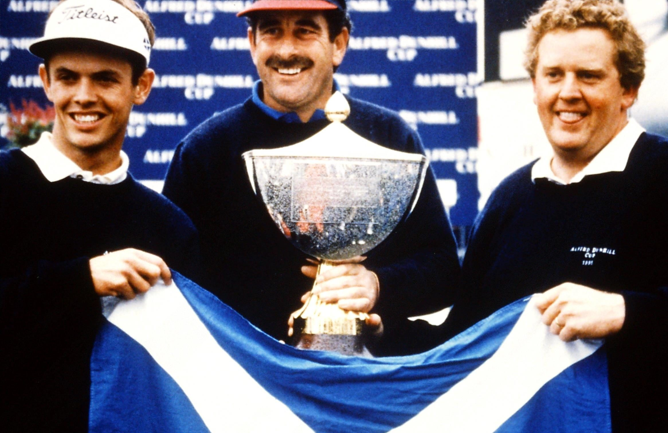 Andrew Coltart, Colin Montgomerie and Sam Torrance win Dunhill Cup for Scotland at St Andrews in 1995
