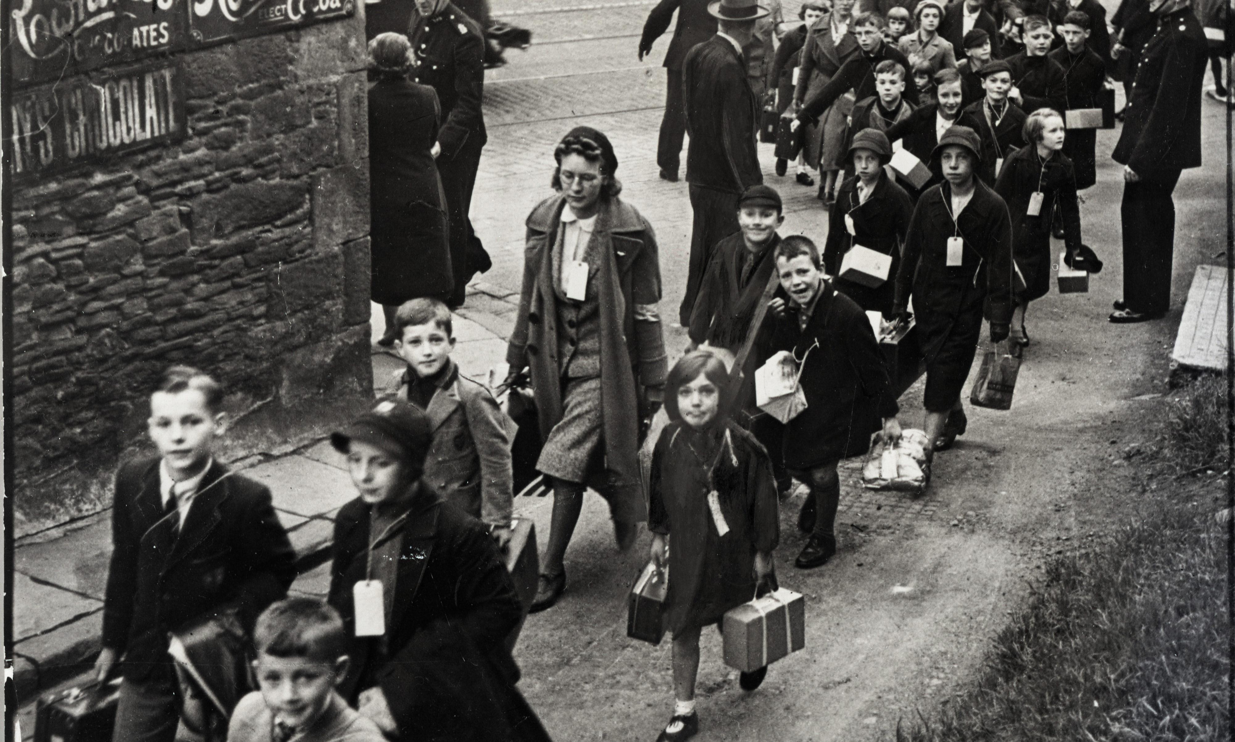Ancrum Road, Dundee school children on way to Lochee Railway station for evacuation