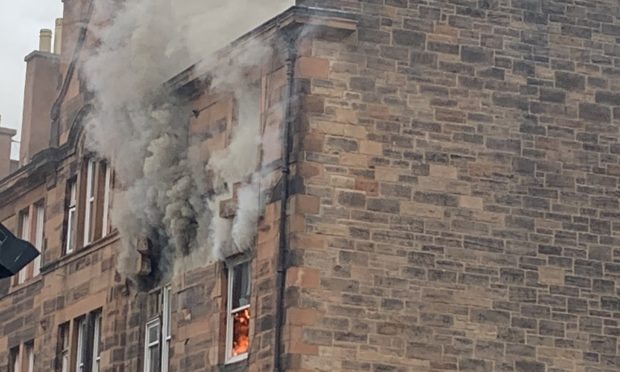 The fire in Fountainbridge, Edinburgh.