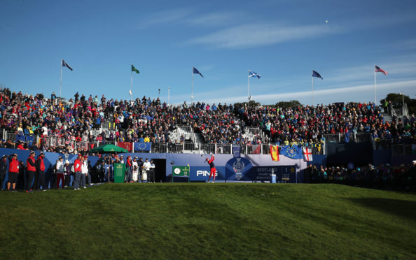 Jessica Korda hits her opening tee shot at the Solheim Cup.