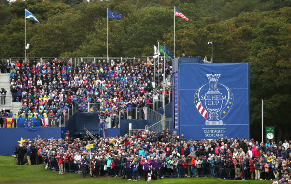 Fans watch the action on the 1st tee during the Singles match on day three of the 2019 Solheim Cup.