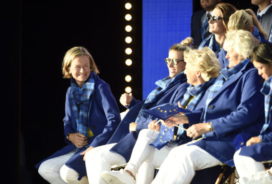 Team Europe captain Catriona Matthew (left) on stage during the opening ceremony for the 2019 Solheim Cup.