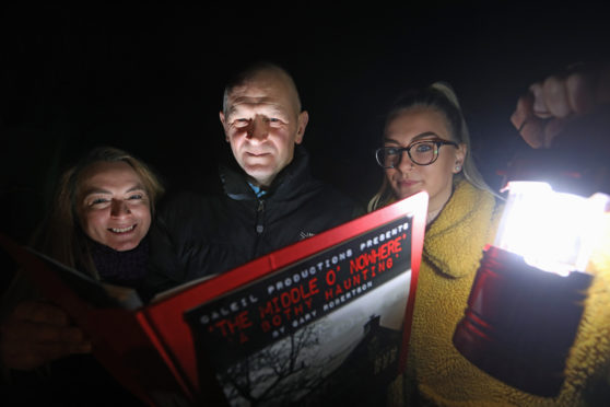 Gary Robertson with family members who were involved inThe Middle O' Nowhere: A Bothy Haunting.