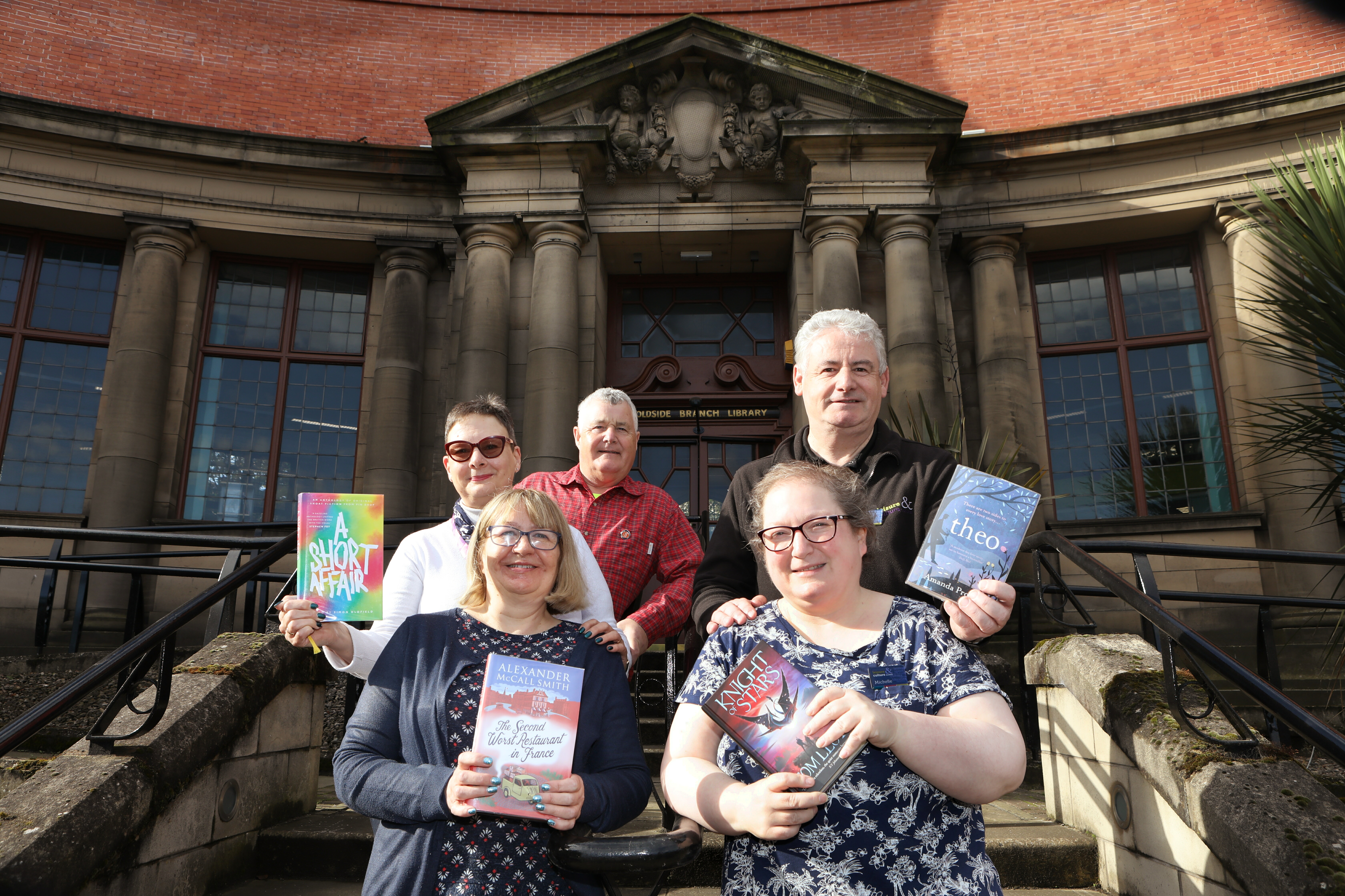 George Laidlaw (lead trustee for libraries), John Horsburgh (Dundee Leisure and Culture), Katie Clapson (assistant), Susan Ferguson (library and information assistant) and Michelle Cochrane (assistant).