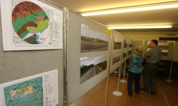 Pic shows the plans for the Govals Wind Farm on show in the church hall in Inverarity.
