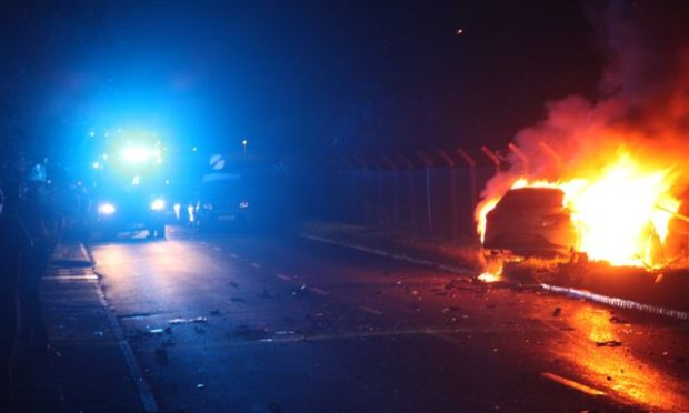 One of the cars was on fire.