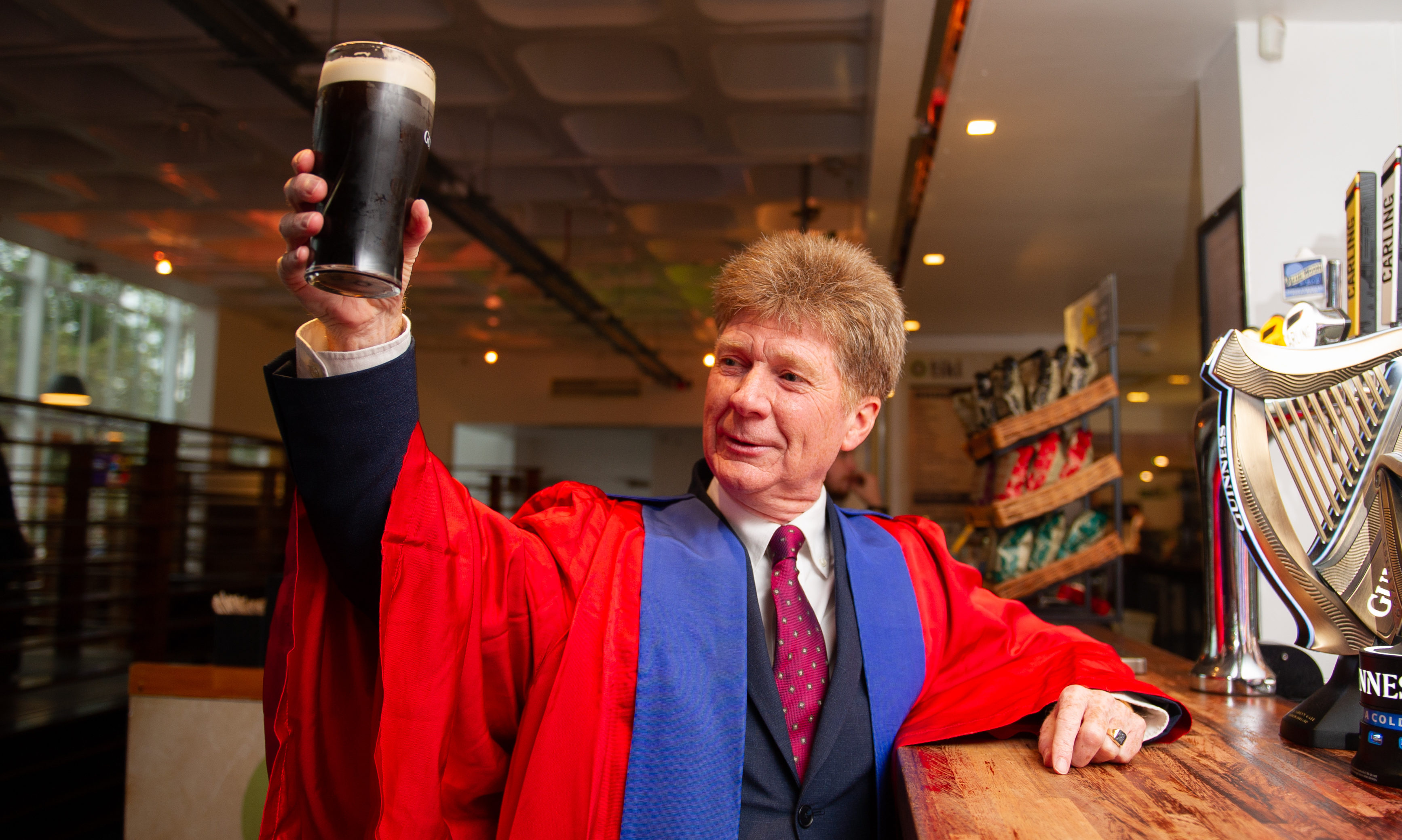 Jim Spence with his first pint of traditional 'drag'.