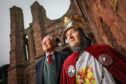 Councillor Angus Macmillan Douglas and Ken Lownie at Arbroath Abbey.