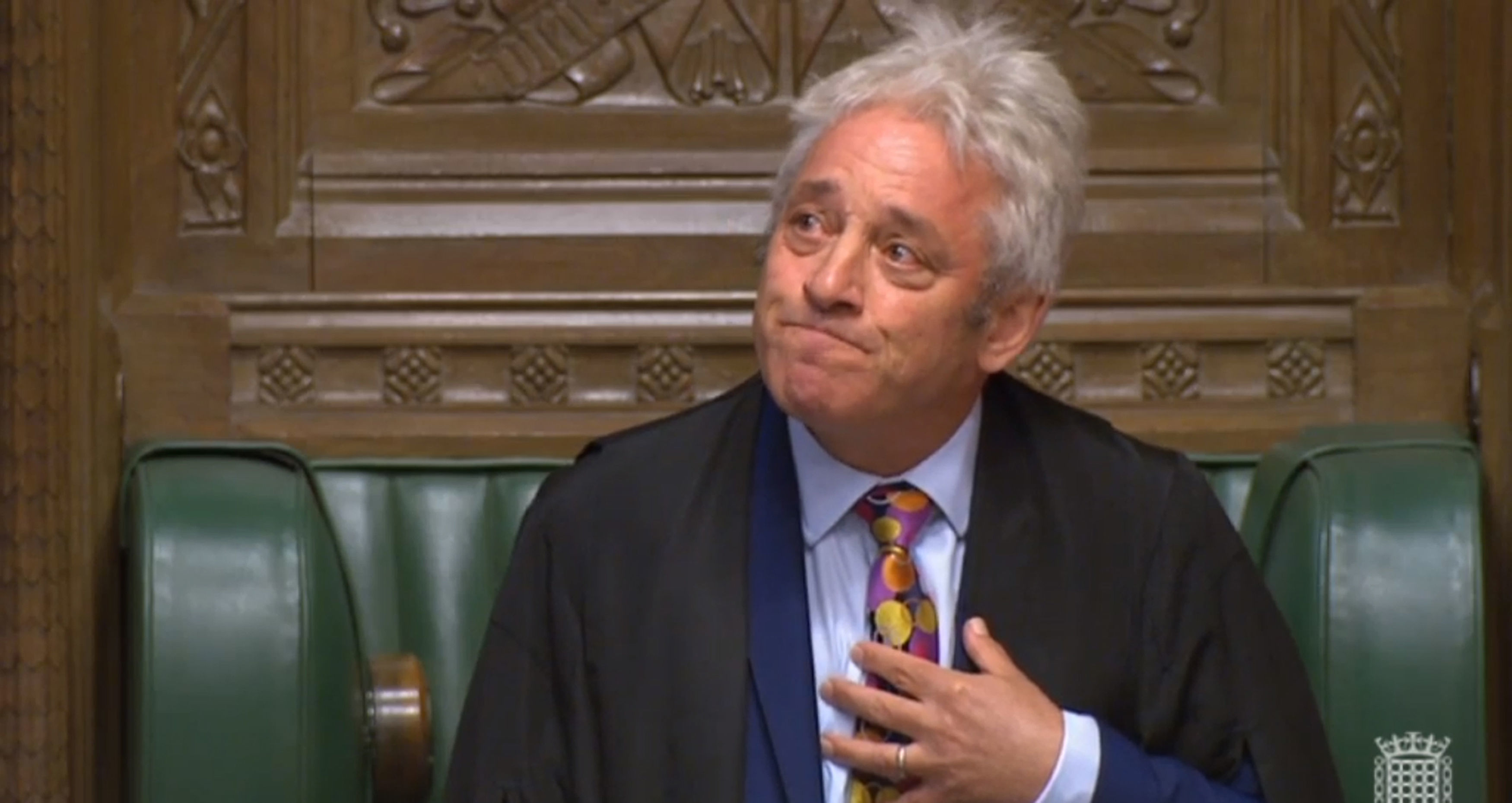 John Bercow looks up to his family as he announces his plan to stand down.