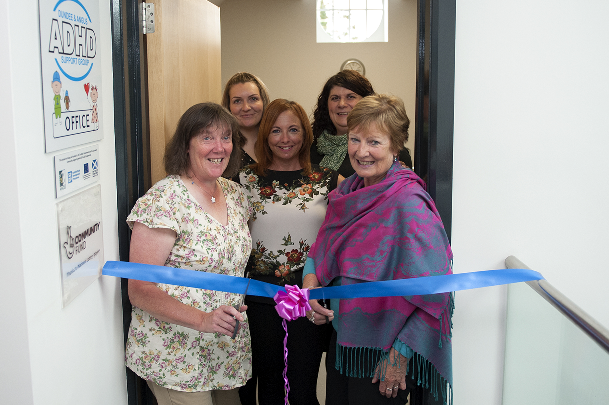 Official launch of new Angus base for ADHD support group,Picture shows,l to r, Susan Smith, Louise Scott, Lynne Kelly, Sarah McIlvarey and Cllr Lynne Devine open the new ADHD support group