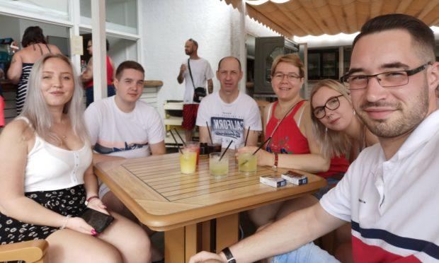 Rafal Junka, far right, with, from left: Nikola Dzimidowicz, Michael Junka, Tomasz Junka, Edyta Junka and Claudia Mrozisnka.