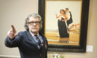 Jack Vettriano with his work The Missing Man II,
