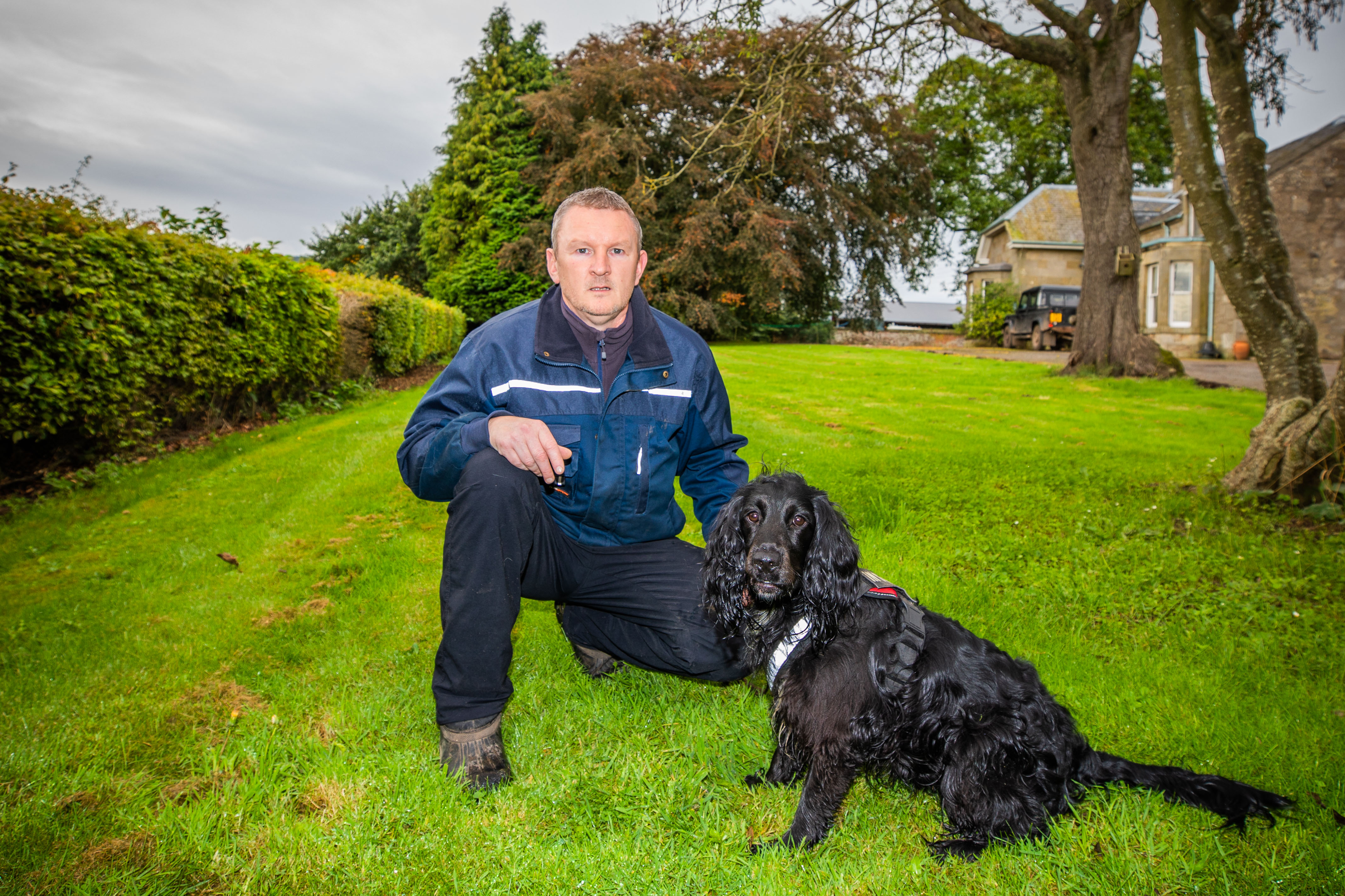 John Miskelly with his dog Bramble.