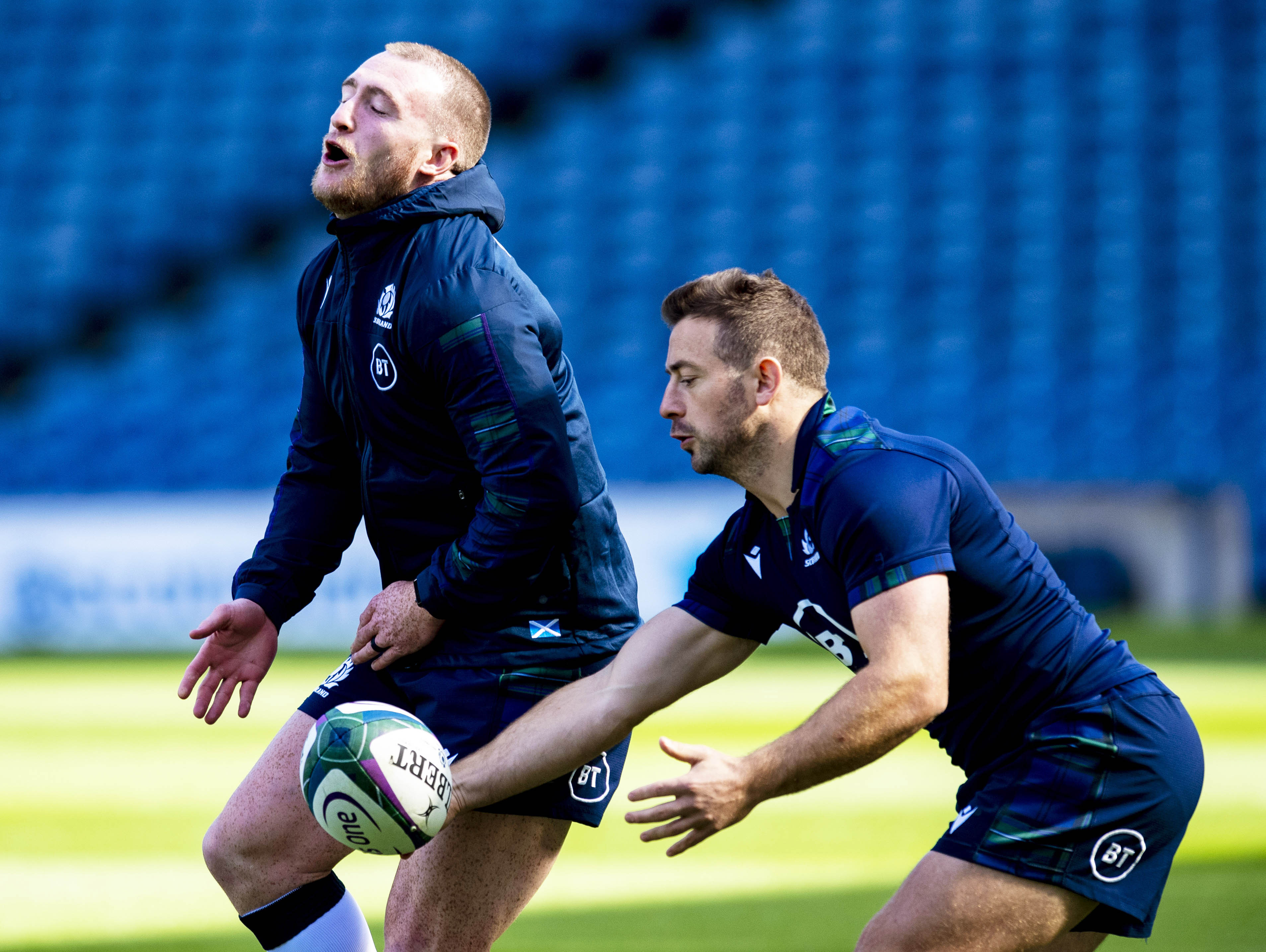 """Stuart Hogg (L) is taking a back seat in popularity to """"Mr Greig"""" Laidlaw in Japan."""