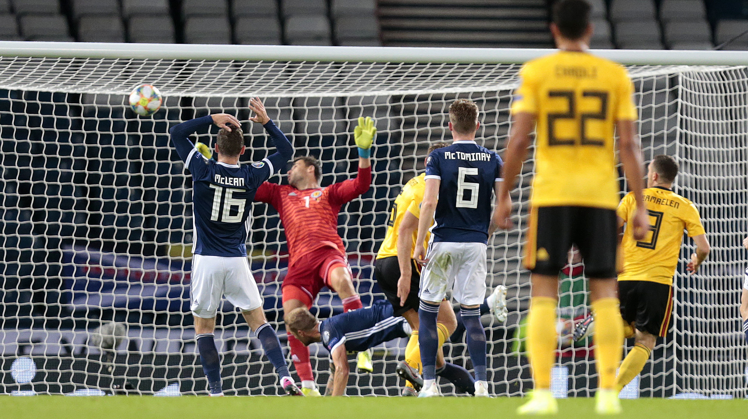 Thomas Vermaelen (No 3) scores Belgium's second goal.