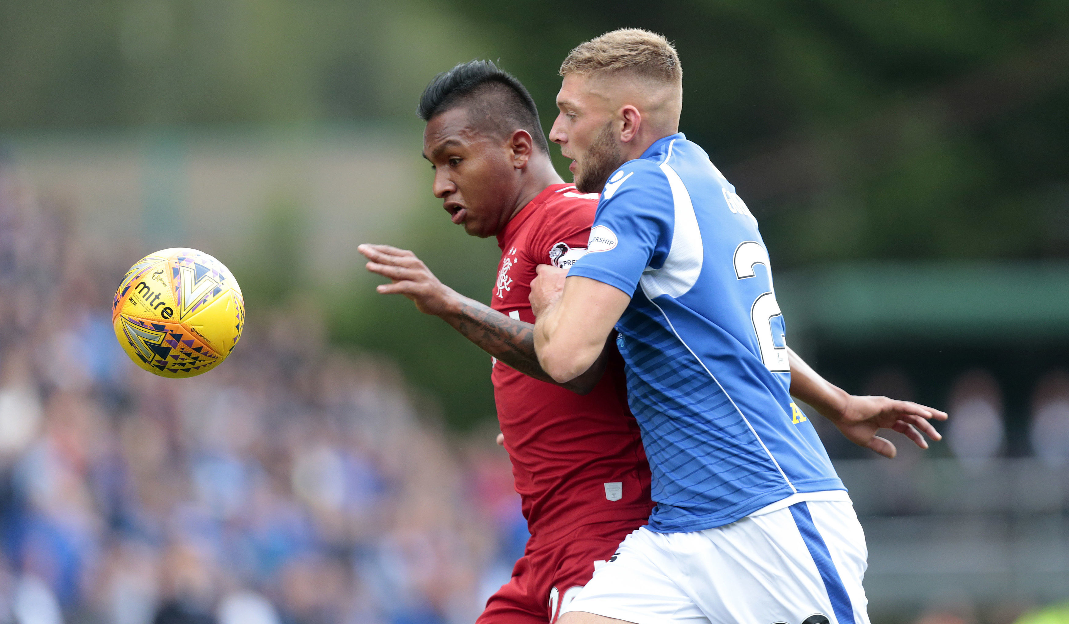 St Johnstone's Liam Gordon (right) vies with Rangers' Alfredo Morelos (left) during the Ladbrokes Scottish Premiership match.