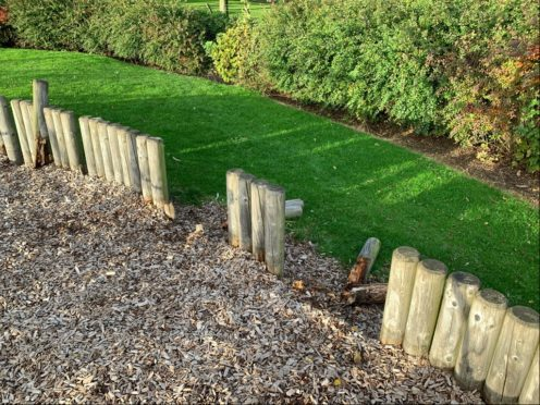 Dozens of substantial wooden stakes surrounding the Saltire playpark were snapped.