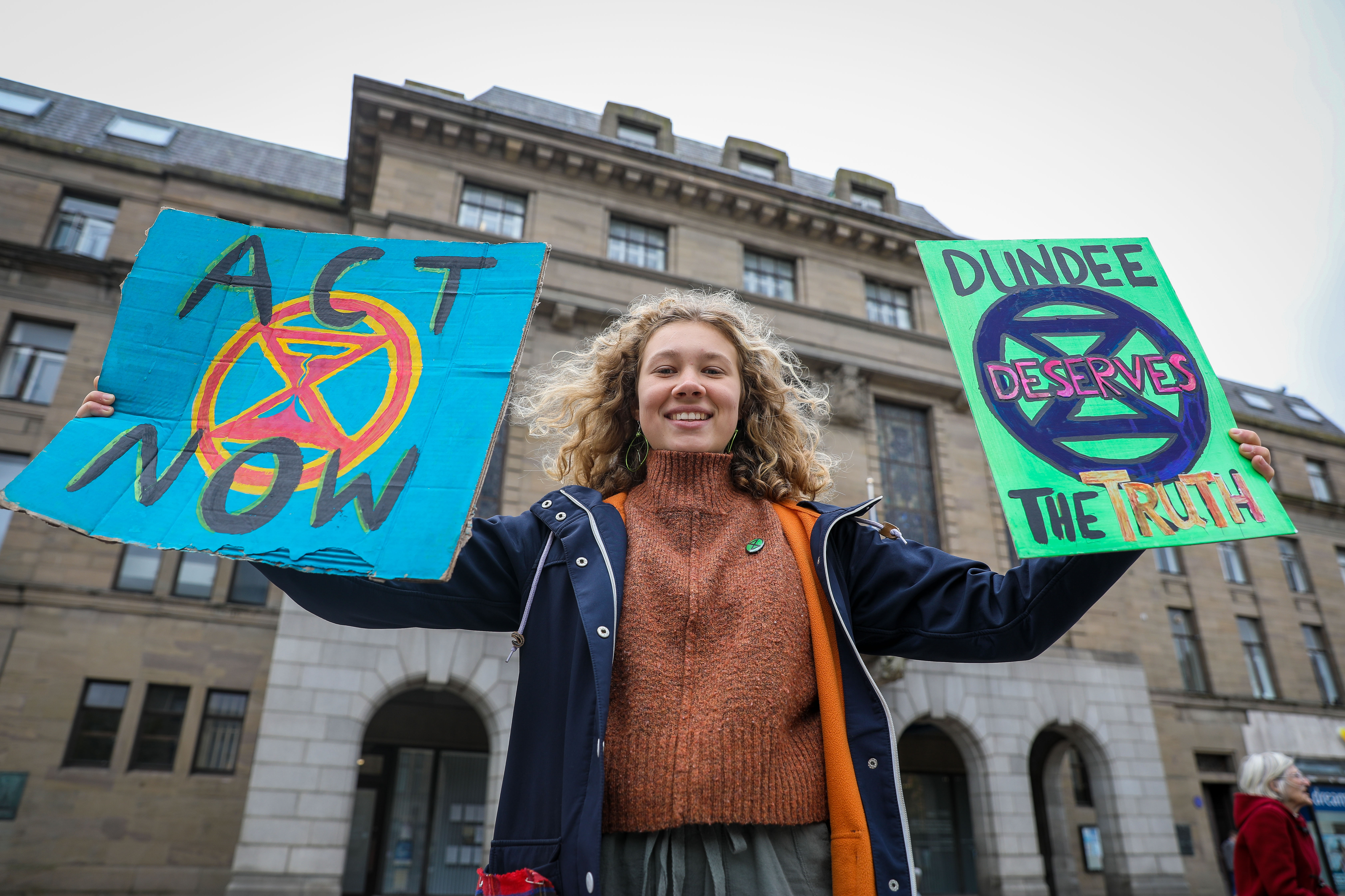 Josephine Becker, 21, was one of the Extinction Rebellion members calling on the council to take action in Dundee in 2019