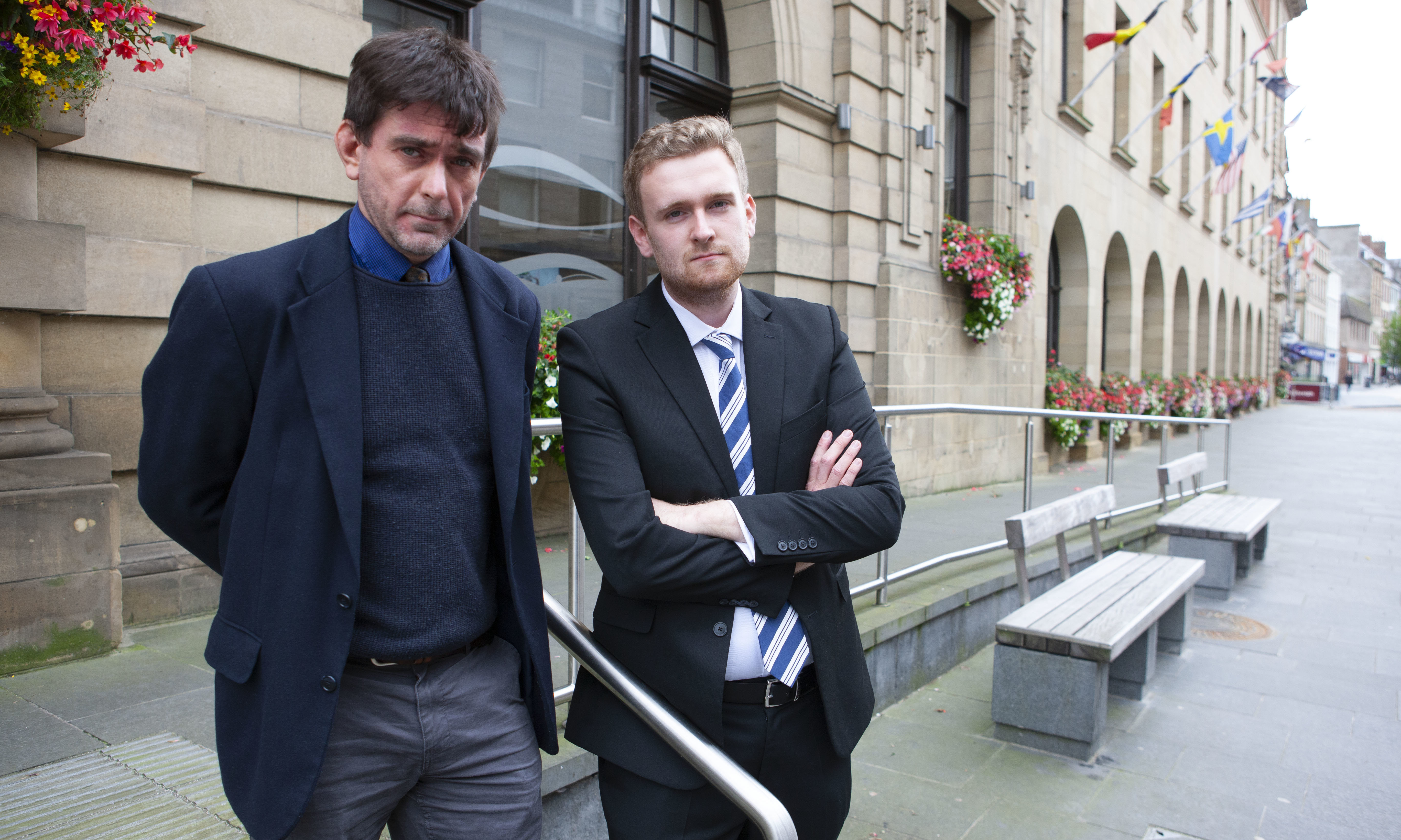 Councillors Colin Stewart and Callum Purves (library photo, taken before lockdown)