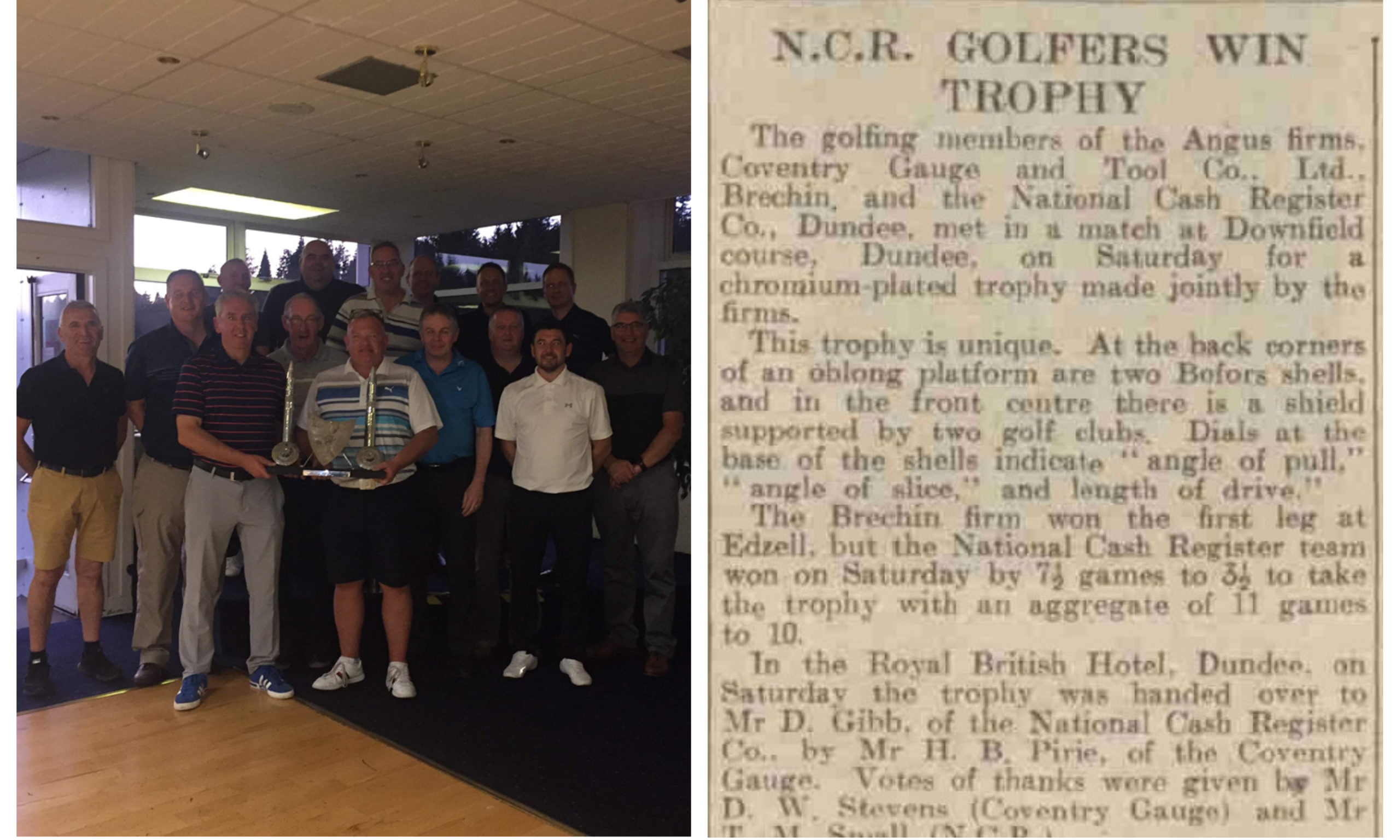 Left: Teams from NCR and Matrix, Right: The original report in The Courier, 1949.