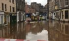 A flash flood hit Forfar town centre in September.