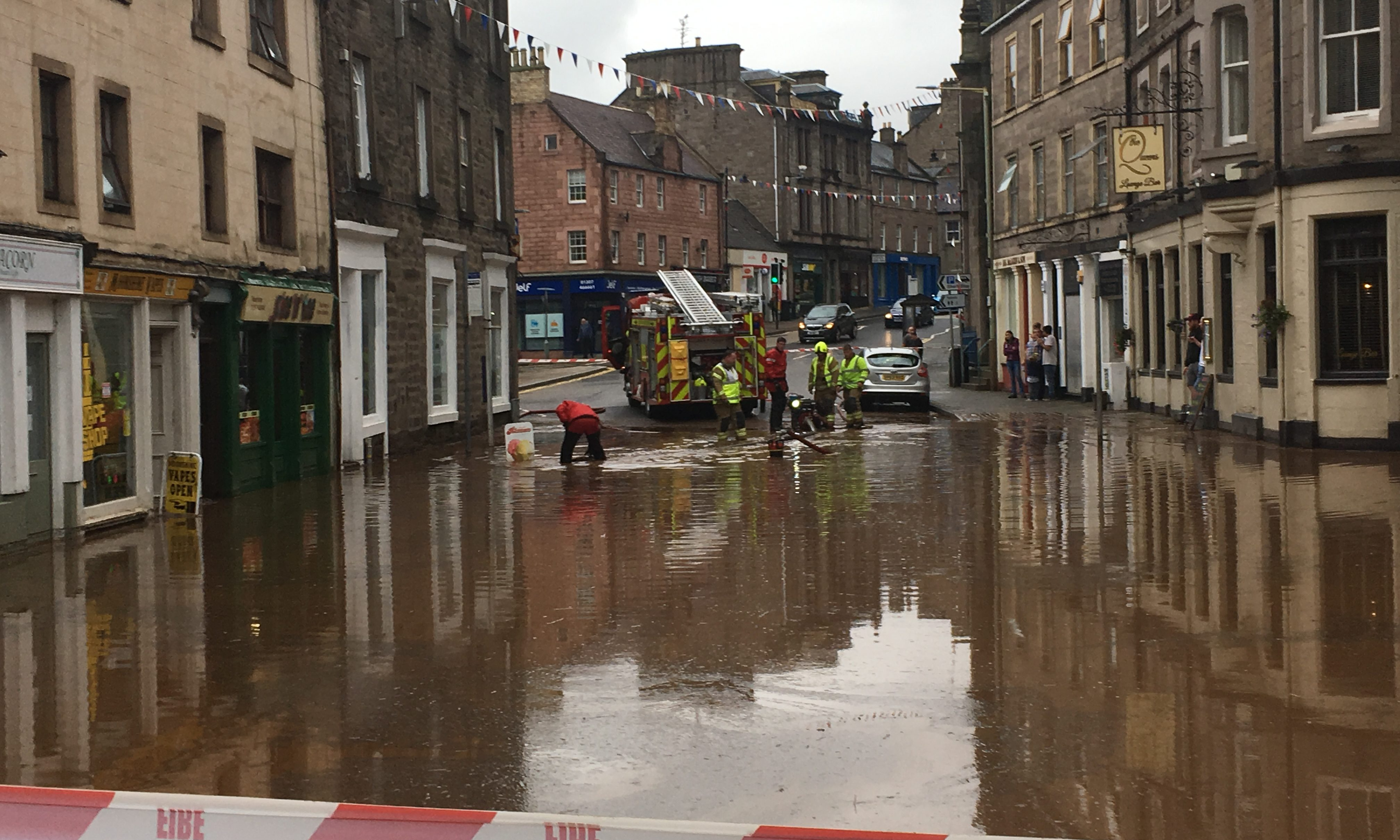 A flash flood hit Forfar town centre in September.