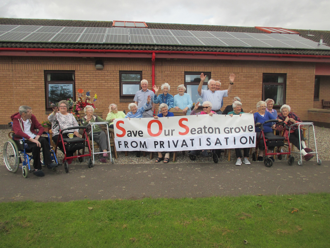 Residents outside Seaton Grove.